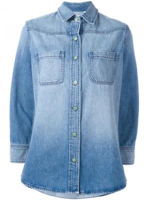 Джинсовая рубашка с нашивкой на спине Sandrine Rose. Цвет: синий