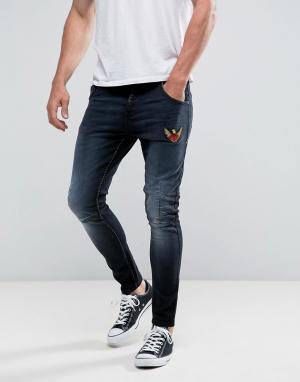 Juice Эластичные джинсы скинни с нашивками. Цвет: черный