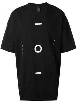 Удлиненная футболка с геометрическим принтом Odeur. Цвет: чёрный