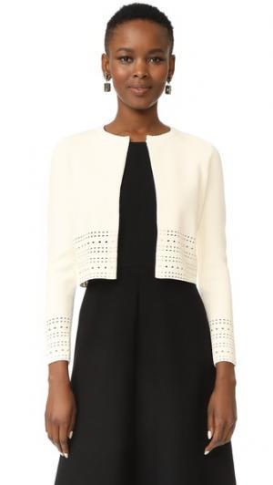 Укороченный свитер Lela Rose. Цвет: белый