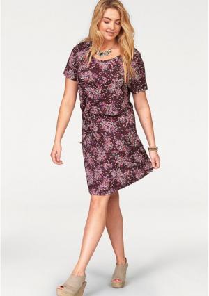 Платье BOYSENS BOYSEN'S. Цвет: бордовый с рисунком
