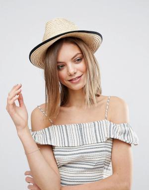 ASOS Мягкая соломенная шляпа с подвернутым краем. Цвет: коричневый