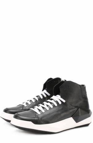 Высокие кожаные кеды на геометричной подошве Cinzia Araia. Цвет: черный