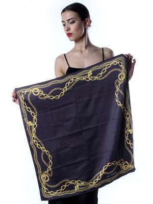 Платок шёлк, Черный с рамкой из золотых цепей SEANNA. Цвет: черный