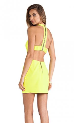 Платье с вырезами t-образная спина Naven. Цвет: желтый