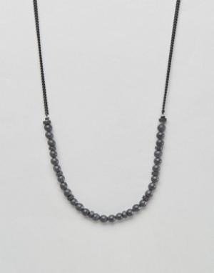 Icon Brand Черное ожерелье-цепочка с бусинами. Цвет: черный