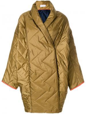 Объемное стеганое пальто Reality Studio. Цвет: зелёный