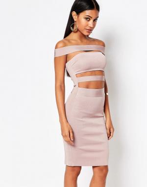 Wow Couture Бандажное платье с открытыми плечами. Цвет: розовый