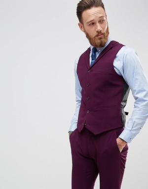 ASOS Приталенный жилет. Цвет: фиолетовый