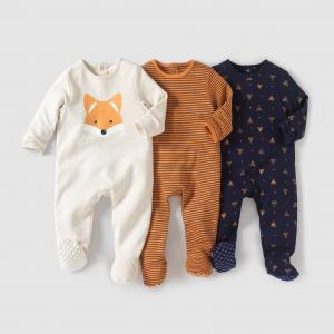Комплект из 3 пижам интерлока 0 мес- лет R édition. Цвет: в полоску оранжевый + темно-синий + бежевый