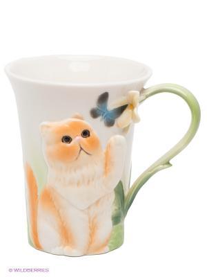 Кружка Персидский кот Pavone. Цвет: светло-зеленый, белый, оранжевый