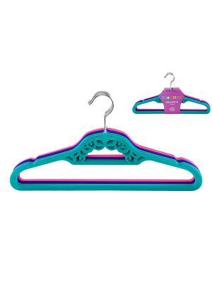 Набор вешалок из 6 штук EL CASA. Цвет: бирюзовый, розовый, синий