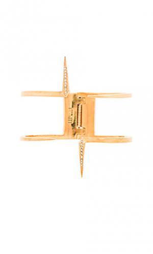 Браслет double pave spike Luv AJ. Цвет: металлический золотой