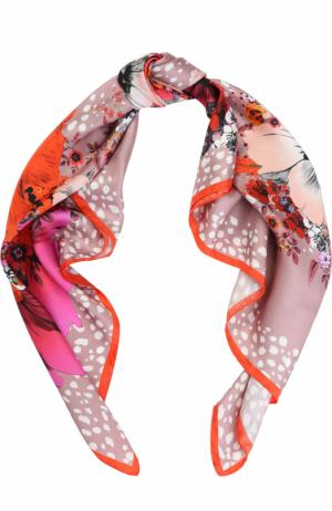 Шелковый платок с принтом Roberto Cavalli. Цвет: розовый