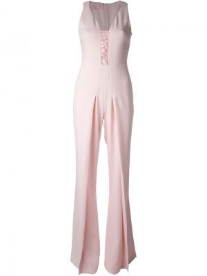Комбинезон с вышивкой и расклешенными брючинами Giamba. Цвет: розовый и фиолетовый