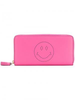 Кошелек с перфорацией Smiley Anya Hindmarch. Цвет: розовый и фиолетовый