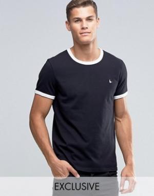 Jack Wills Черная футболка классического кроя Ringer. Цвет: черный
