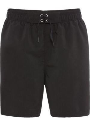 Купальные шорты на эластичном поясе со шнуровкой (черный) bonprix. Цвет: черный