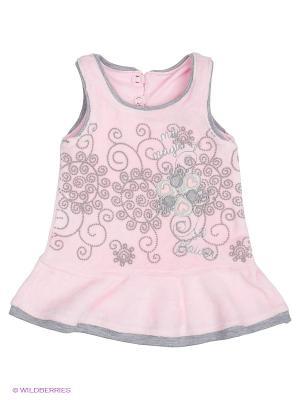 Платье FIM. Цвет: розовый, серый