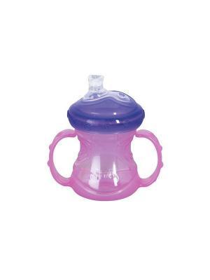 Чашка-поильник,  240 мл, силиконовый носик, съемные ручки NUBY. Цвет: сиреневый, розовый