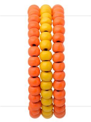 Набор браслетов из кости Bangalore Indira. Цвет: желтый