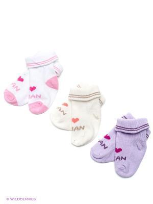 Носки, 3 пары DAG. Цвет: сиреневый, бежевый, белый