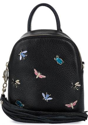 Маленький рюкзак с вышивкой Curanni. Цвет: черный