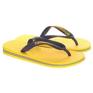 Вьетнамки  Brasil Logo Yellow/Blue Havaianas. Цвет: желтый,синий