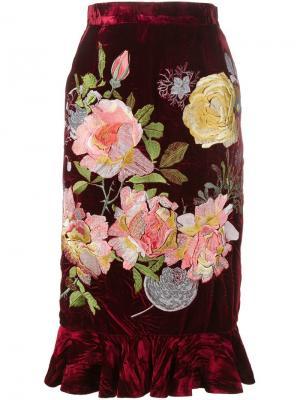 Бархатная юбка Delia Alice Archer. Цвет: красный