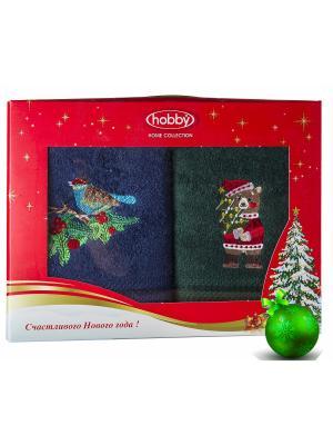 Махровое полотенце в коробке 50х90*2 Новый год, V15 HOBBY HOME COLLECTION. Цвет: синий, зеленый