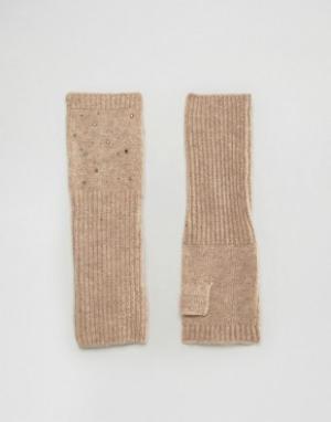 Alice Hannah Длинные митенки с заклепками. Цвет: серый