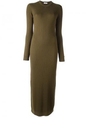 Длинное вязаное платье Courrèges. Цвет: зелёный
