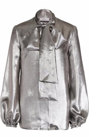 Блуза с воротником-аскот и металлизированной отделкой Racil. Цвет: серебряный