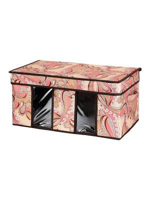 Кофр складной для хранения Узоры с сердечками EL CASA. Цвет: коричневый, бежевый, розовый