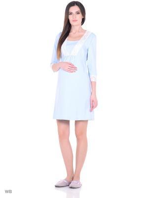 Сорочка женская для беременных и кормящих Hunny Mammy. Цвет: голубой