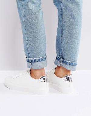 Blink Белые кроссовки с накладкой на носке. Цвет: белый