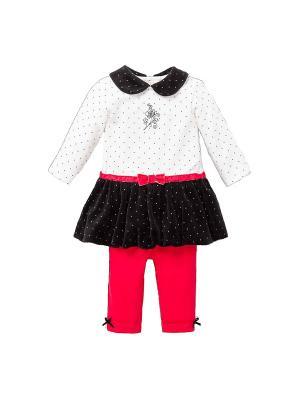 Комплект из 2-х предметов Каменный цветок Little Me. Цвет: белый, черный, красный