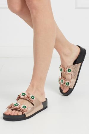 Кожаные сандалии Suecomma Bonnie. Цвет: золотой