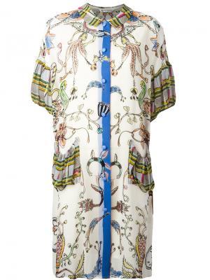Платье шифт с комбинированным принтом Tsumori Chisato. Цвет: телесный