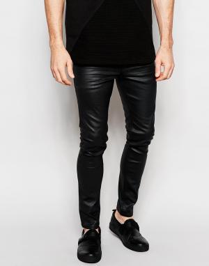 Dark Future Черные супероблегающие джинсы с резиновым покрытием. Цвет: черный