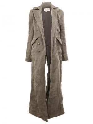 Декорированное пальто из шелкового микса Greg Lauren. Цвет: серый