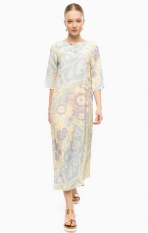 Длинное платье свободного кроя с цветочным принтом THINK CHIC. Цвет: цветочный принт