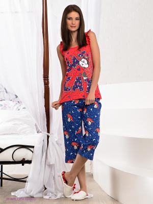 Пижама Vienetta Secret. Цвет: синий, коралловый