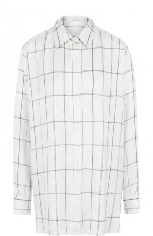Шелковая блуза свободного кроя в клетку The Row. Цвет: молочный