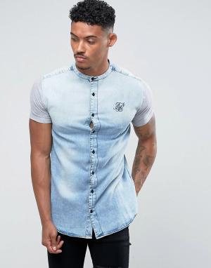 SikSilk Джинсовая облегащая рубашка. Цвет: синий