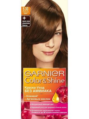 Краска-уход для волос Color&Shine без аммиака, оттенок 5.30, Темный орех Garnier. Цвет: коричневый