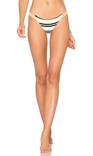 Классические полосатые плавки бикини из джута Vix Swimwear. Цвет: белый
