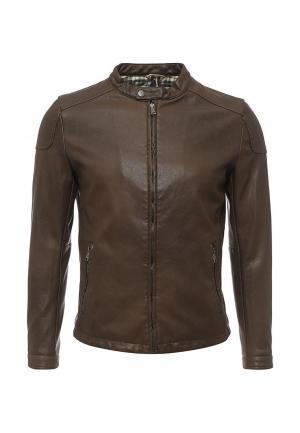 Куртка кожаная Gianni Lupo. Цвет: коричневый
