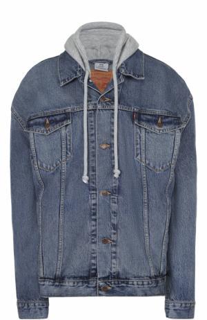 Джинсовая куртка свободного кроя с капюшоном Vetements. Цвет: синий