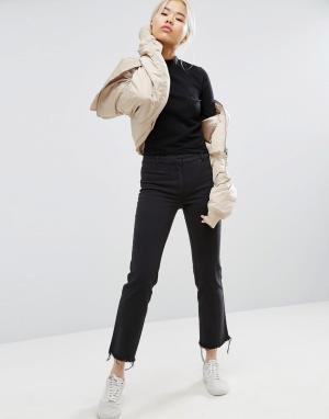 Weekday Укороченные брюки с необработанными краями. Цвет: черный